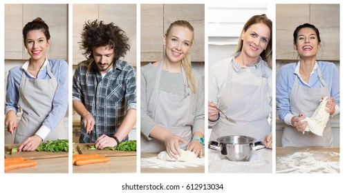 Collage of a 5 different cookers. People cooking.