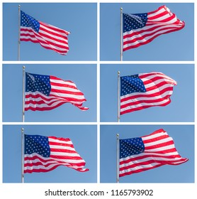 Collage of 6 United States American Flags Blowing in the Wind with Blue Sky Background.
