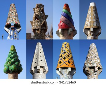 A collage of 8 colorful chimneys on Palau Guell, Barcelona, Spain designed by Antoni Gaudi.