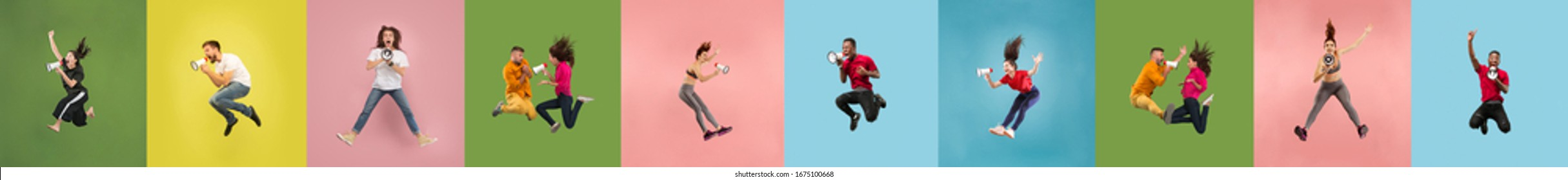Collage of 8 young emotional jumping people on multicolored bright background. Concept of human emotions, facial expression, sales. Header, banner or flyer. Sport, finance. Calling with megaphone.