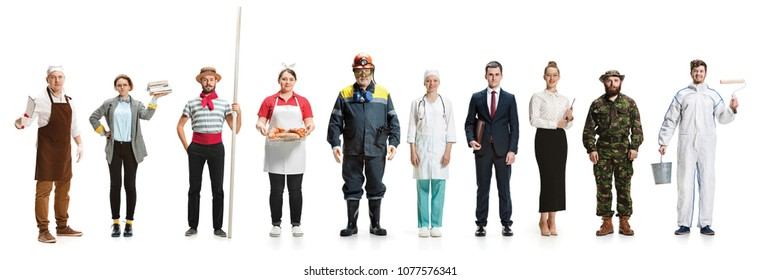 Collage about different professions. Group of men and women in uniform standing isolated on white . Full length of people with different occupations. Buisiness, professional, labor day concept