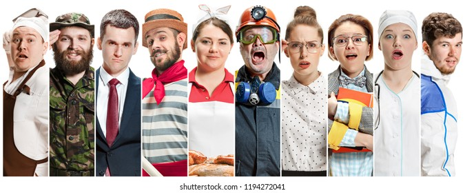 Collage about different professions. Group of men and women in uniform standing at studio isolated on white background. Buisiness, professional, labor day concept