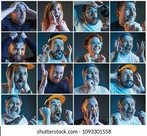 Collage about emotions of friends or football fans watching soccer on tv and celebrating victory. Friendship, sports and entertainment concept.