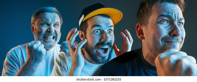 Collage about emotions of television fans. Screaming, hate, rage. Crying emotional angry men screaming in colorful bright lights at studio. Faces closeup. Human, facial expression concept.