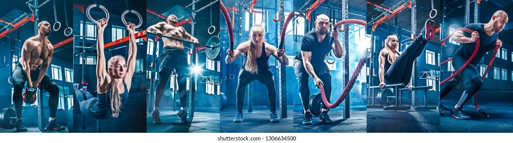 Collage about fit man and woman with battle ropes at the fitness gym. Sport, training, athlete, workout, exercises concept