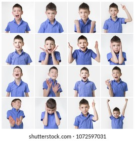 Collage about funny teenager, expressions set over white background. Handsome eight year old teen boy posing in studio isolated over white background.