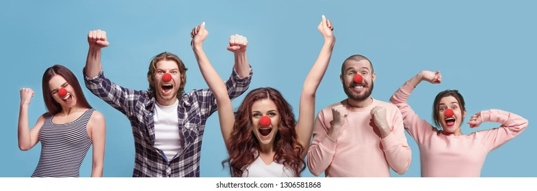 Collage about happy funny celebrating during red nose or april fools day. Clown, fun, party, celebration, funny, joy, crazy, humor concept. Human emotions, facial expression concept.