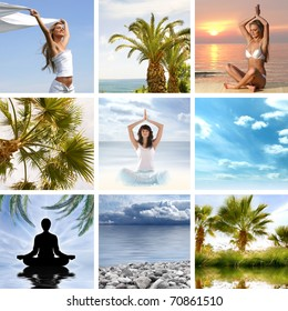 Collage about health and meditation
