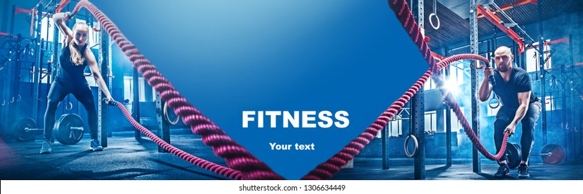 Collage about man and woman with battle ropes at fitness gym. Sport, rope, training, athlete, workout, exercises concept