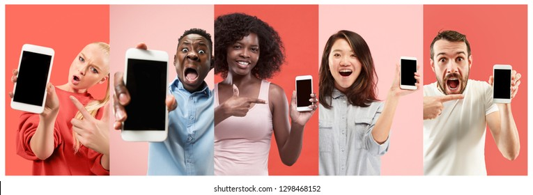 The collage about surprised, smiling, happy, astonished women and men showing empty blank screen of mobile phone with copyspace isolated over coral trendy studio. Human emotions concept