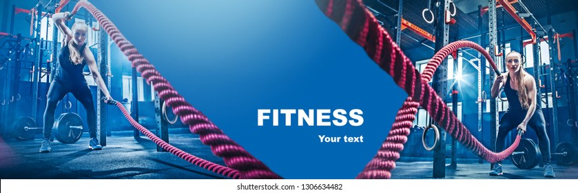 Collage about woman with battle ropes at the fitness gym. Sport, training, athlete, workout, exercises concept