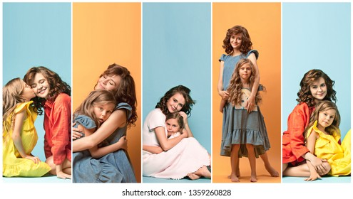 Collage about young mother and her little daughter at home. Happy family time on weekend. Mother's Day concept. Love, lifestyle, motherhood and tender moments concepts.