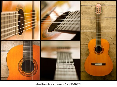 collage of acoustic classical guitar with strings