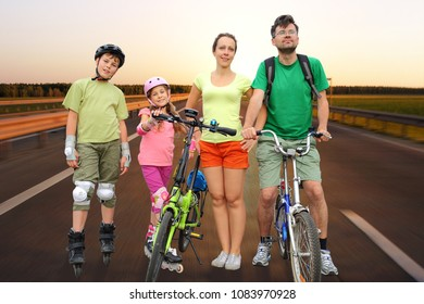 Collage with active rest of family of four with roller skates and bicycles