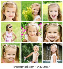 Collage of adorable little girl on the meadow in summer day outdoor