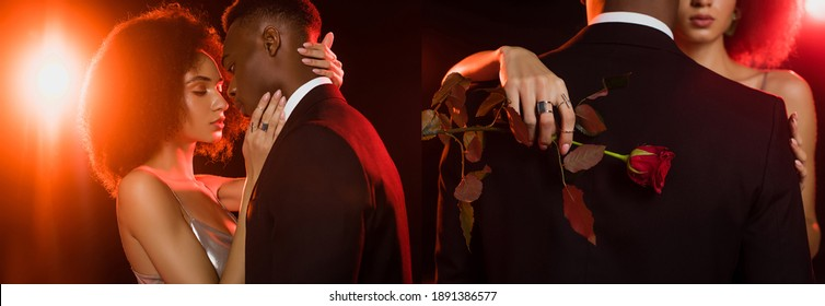 collage of african american couple hugging and woman holding red rose on black