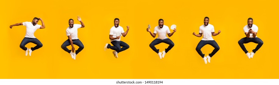 Collage of african american guy jumping in air on yellow background, panorama