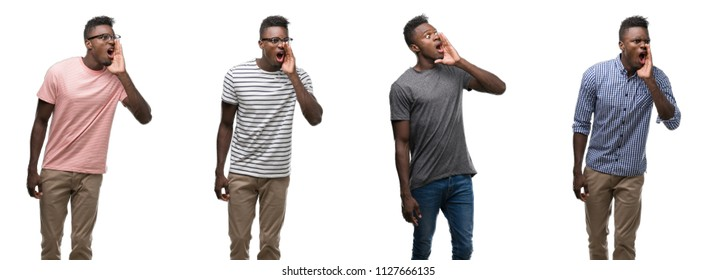Collage of african american man wearing different outfits shouting and screaming loud to side with hand on mouth. Communication concept.