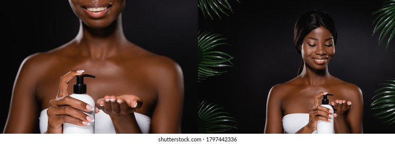 collage of african american woman applying body lotion near green palm leaves isolated on black