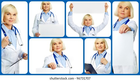 Collage of aged female doctor with stethoscope, clipboard and banner looking at camera
