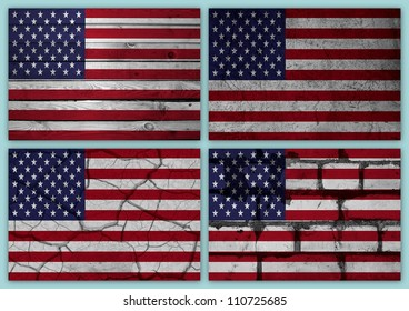 Collage of american flag with different texture backgrounds