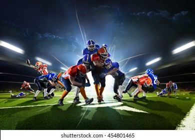 Collage from american football players in the action grand arena