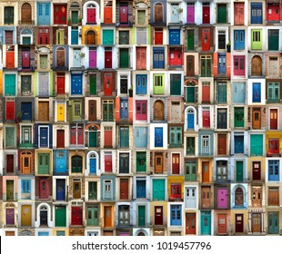 A collage of ancient colourful doors from everywhere in the world