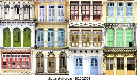 Collage of the ancient unique windows. Georgetown, Malaysia