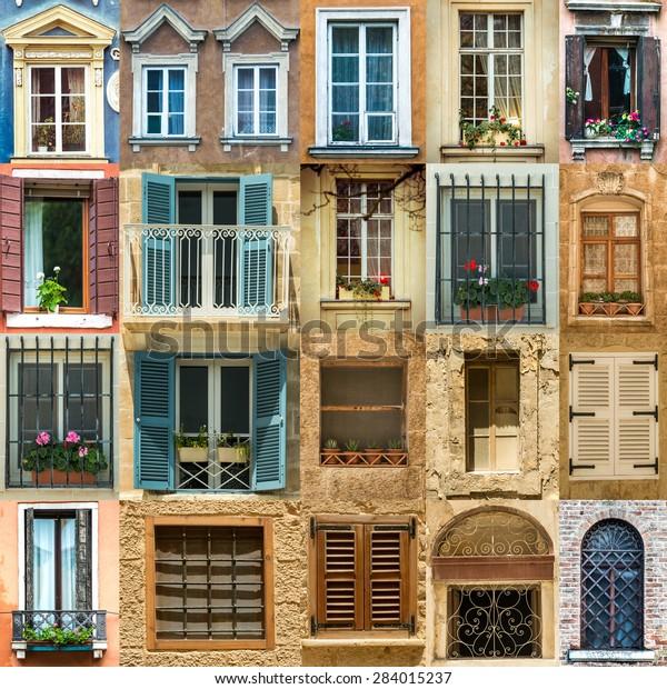 Collage Antique Windows Europe Stock Photo (Edit Now) 284015237