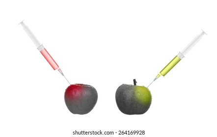 Collage apple getting color by bioengineering