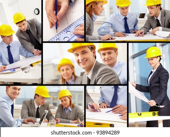 Collage of architects at work