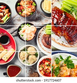 Collage of assorted Chinese food on light gray background. Asian food concept. Top view, copy space