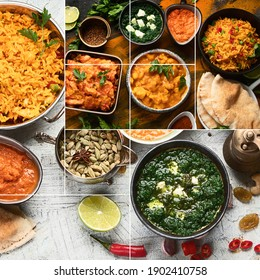 Collage of assorted indian food on black background.. Indian cuisine.