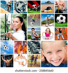 collage of athletes and sports equipment