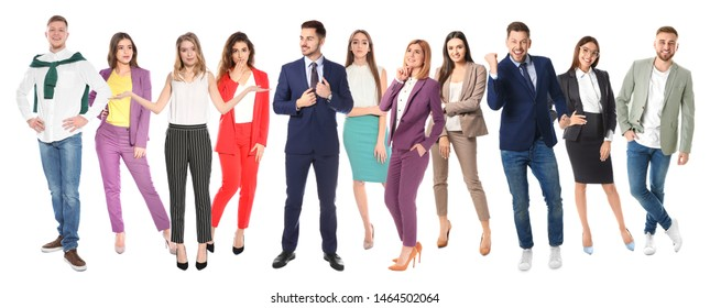 Collage of attractive people on white background. Banner design