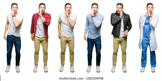 Collage of attractive young man over white isolated background hand on mouth telling secret rumor, whispering malicious talk conversation