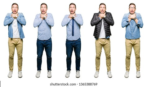 Collage of attractive young man over white isolated background shouting and suffocate because painful strangle. Health problem. Asphyxiate and suicide concept.