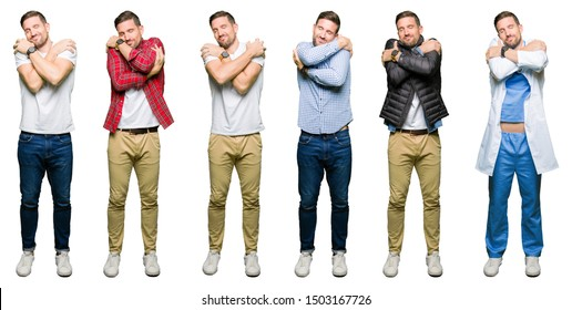 Collage of attractive young man over white isolated background Hugging oneself happy and positive, smiling confident. Self love and self care