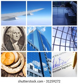 Collage background with business and travel concept