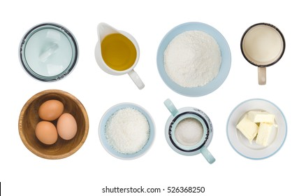 Collage of baking ingredient objects isolated on white, top view