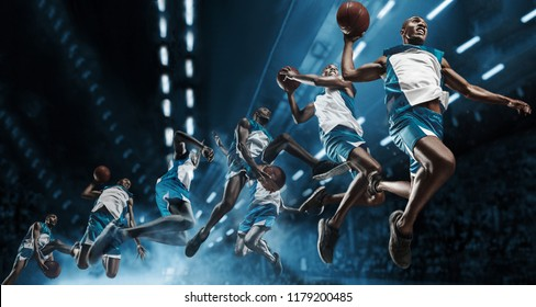 Collage. Basketball player in motion or movement on big professional arena during the game. Player making slam dunk. unbranded uniform. attack and decisive blow concept. professorial afro american