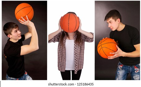 Collage of basketball players with ball