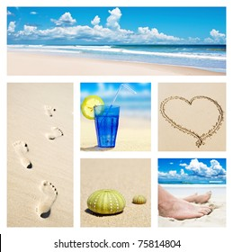 Collage of beach holiday scenes