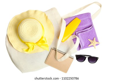 Collage of beach things and accessories isolated on white background.