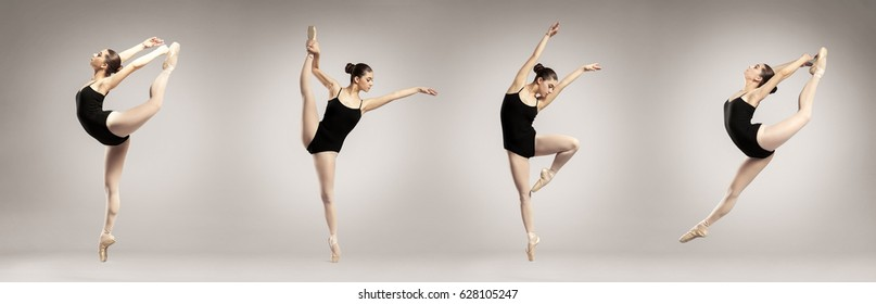 Collage of beautiful ballet dancer on color background