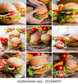 Collage of beautiful big hamburgers on a wooden table.