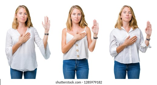 Collage of beautiful blonde woman over white isolated background Swearing with hand on chest and open palm, making a loyalty promise oath