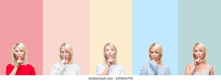 Collage of beautiful blonde woman over colorful stripes isolated background asking to be quiet with finger on lips. Silence and secret concept.