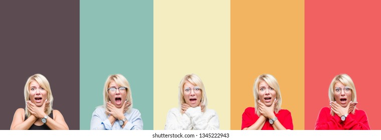 Collage of beautiful blonde woman over vintage isolated background shouting and suffocate because painful strangle. Health problem. Asphyxiate and suicide concept.