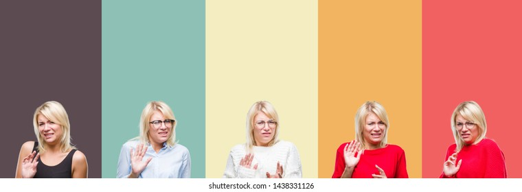 Collage of beautiful blonde woman over vintage isolated background disgusted expression, displeased and fearful doing disgust face because aversion reaction. With hands raised. Annoying concept.
